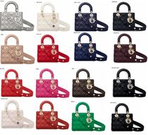 Christian Dior LADY DIOR Lambskin 2WAY Bi-color Plain Elegant Style Handbags