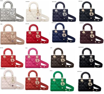 Lambskin 2WAY Bi-color Plain Elegant Style Handbags