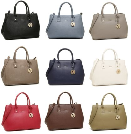 FURLA LINDA 2WAY Plain Leather Office Style Totes