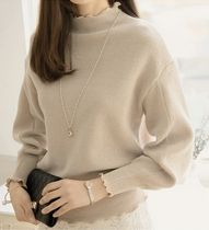 Rib Plain High-Neck Puff Sleeves Sweaters