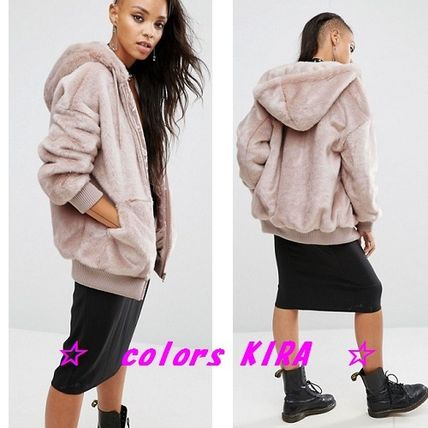 ASOS faux leather hood over size bomber jacket