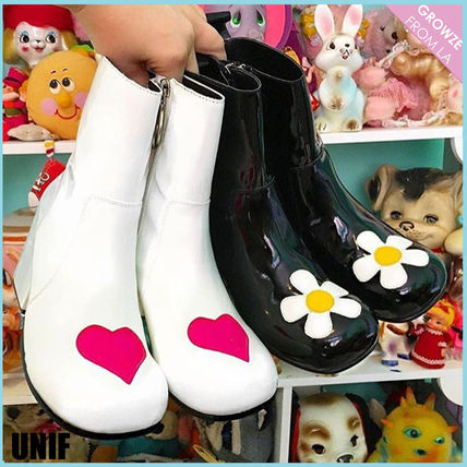 UNIF Clothing Heart Flower Patterns Round Toe Casual Style Street Style