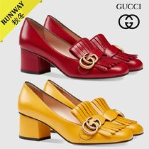 GUCCI GG Marmont Square Toe Plain Leather Elegant Style Chunky Heels