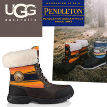 UGG Australia Stripes Plain Toe Mountain Boots Sheepskin Blended Fabrics