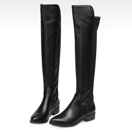 A wide range of hated fake leather knee high boots