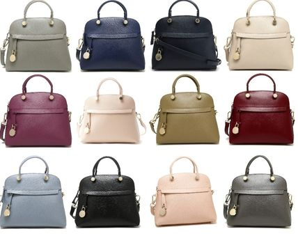 2WAY Plain Leather Office Style Handbags