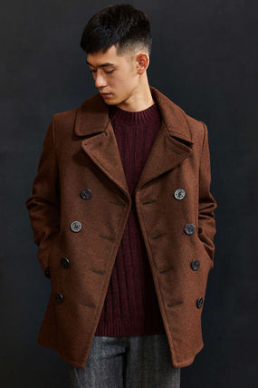 Schott Short Wool Street Style Plain Peacoats Coats