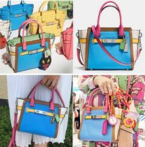 Coach SWAGGER Tropical Patterns Casual Style 2WAY Bi-color Leather