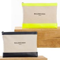 BALENCIAGA NAVY Casual Style Canvas Bag in Bag Plain Clutches