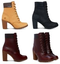Timberland Lace-up Casual Style Plain Leather Bold Lace-up Boots