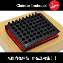Christian Louboutin Unisex Calfskin Studded Folding Wallets