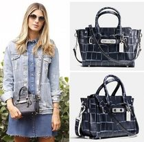 Coach SWAGGER 2WAY Plain Other Animal Patterns Leather Elegant Style