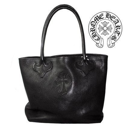 CHROME HEARTS CH CROSS Unisex Leather Totes