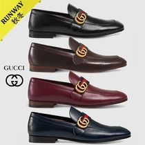 GUCCI GG Marmont Loafers Plain Leather U Tips Loafers & Slip-ons