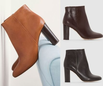 Round Toe Leather Elegant Style Ankle & Booties Boots