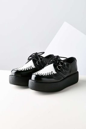Platform Plain Toe Rubber Sole Casual Style Street Style