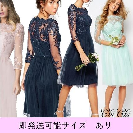 Flared Boat Neck Cropped Medium Lace Dresses