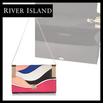 River Island Faux Fur 2WAY Plain Elegant Style Clutches