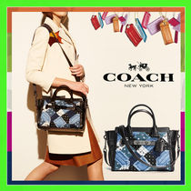Coach SWAGGER Blue Canyon Quilted Denim Swagger 27 Handbag