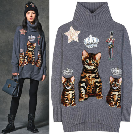 Dolce & Gabbana 16-17 AW DG 771 CAT EMBELLISHED TURTLENECK SWEATER