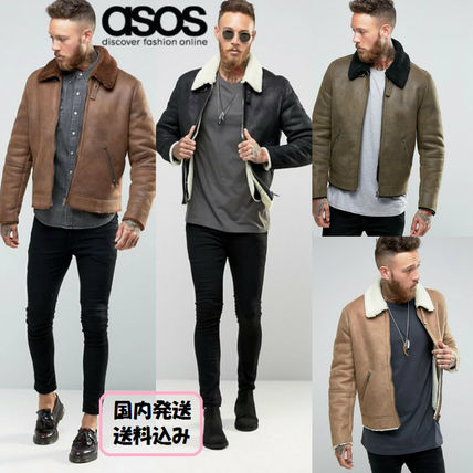 Artificial leather Mouton collar jacket