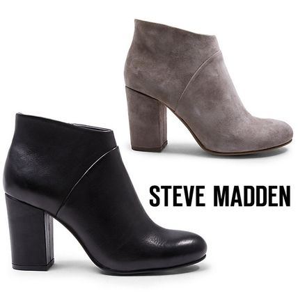 Steve Madden Plain Toe Plain Leather Chunky Heels Ankle & Booties Boots