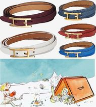 HERMES Costume Jewelry Casual Style Unisex Leather Office Style