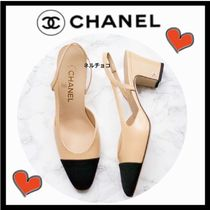 CHANEL ICON Blended Fabrics Bi-color Leather Block Heels Elegant Style
