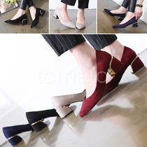 3-5 cm Suede Chunky Heels Pointed Toe Pumps & Mules
