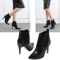 Wedge Round Toe Faux Fur Studded Elegant Style Wedge Boots