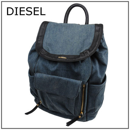 Different material combination denim backpack hip back