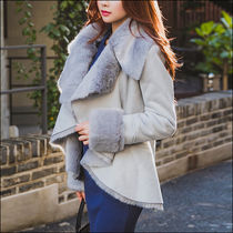 Suede Street Style Plain Medium Fur Leather Jackets