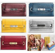 Coach SWAGGER Plain Leather Long Wallets