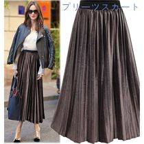 Pleated Skirts Studded Medium Elegant Style Bottoms