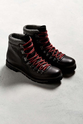 WOOLRICH Plain Toe Mountain Boots Street Style Plain Leather