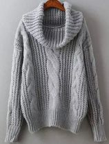 Cable Knit Casual Style Plain Medium High-Neck Knitwear