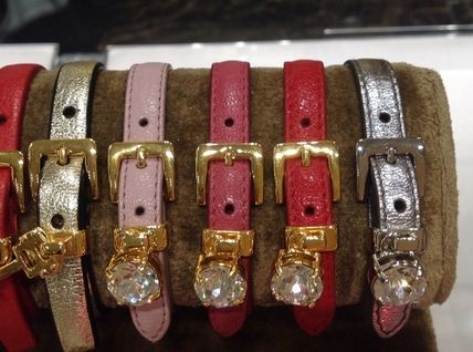 Costume Jewelry Leather With Jewels Elegant Style Bracelets