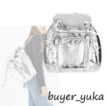TOPSHOP Casual Style A4 Plain Leather Backpacks