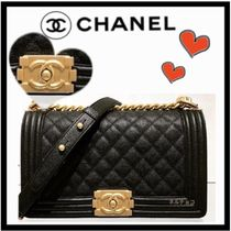 CHANEL BOY CHANEL Casual Style Calfskin 2WAY Chain Plain Shoulder Bags