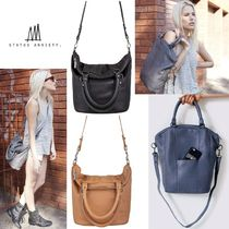 STATUS ANXIETY Casual Style Unisex 2WAY Plain Leather Totes