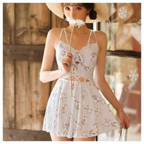 Flower Patterns Lace Up Beach Cover-Ups