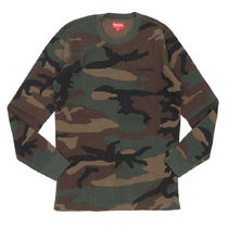 Supreme Crew Neck Pullovers Camouflage Street Style Long Sleeves