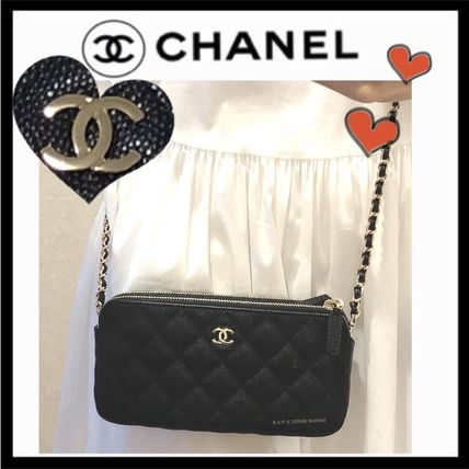 CHANEL CHAIN WALLET Calfskin Bag in Bag 3WAY Chain Plain Elegant Style