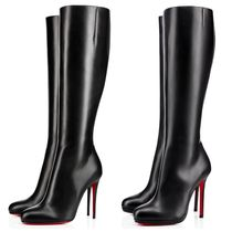 Christian Louboutin Fifille Plain Toe Plain Leather over 10cm Pin Heels Elegant Style