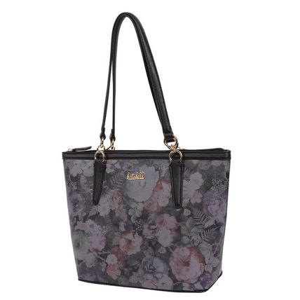 Stripes Flower Patterns Faux Fur Elegant Style Totes