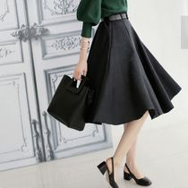 Flared Skirts Plain Medium Midi Office Style Midi Skirts