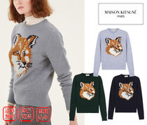 MAISON KITSUNE Crew Neck Casual Style Wool Long Sleeves