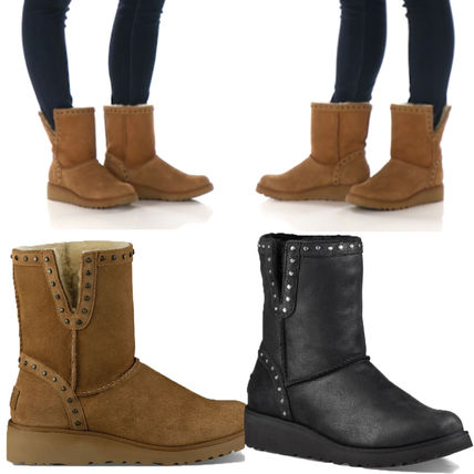 Cowboy Boots Sheepskin Plain Wedge Boots