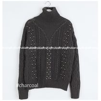 Crew Neck Cable Knit Casual Style Wool Studded Long Sleeves