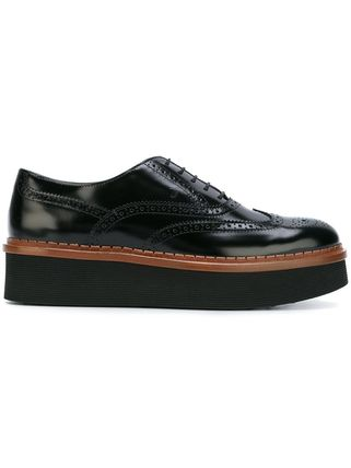 TOD'S Platform Round Toe Lace-up Casual Style Plain Leather